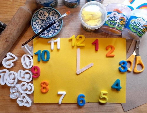 Modelling clay activity for kids to learn how to tell the time